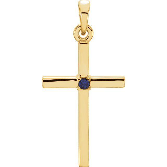 14K Yellow 22.65x11.4 mm Blue Sapphire Cross Pendant