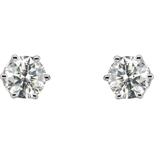 14K White 1 CTW Natural Diamond Stud Earrings