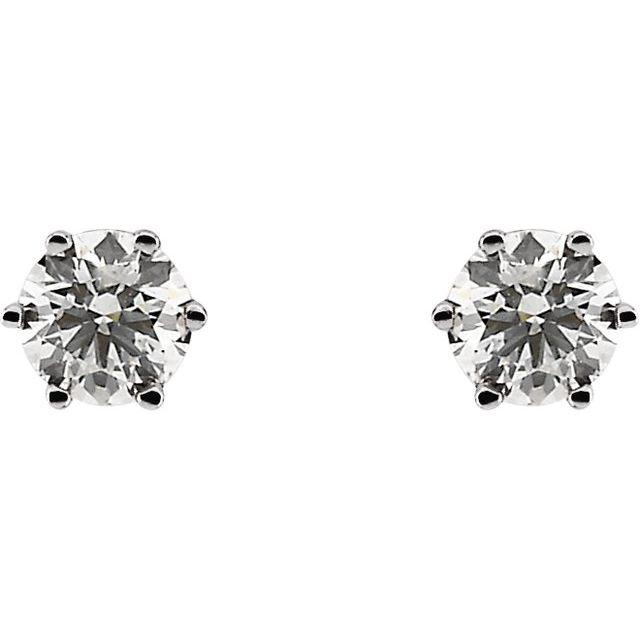 14K White 3/4 CTW Diamond Earrings