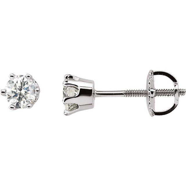 14K White 1/2 CTW Natural Diamond 6-Prong Stud Earrings