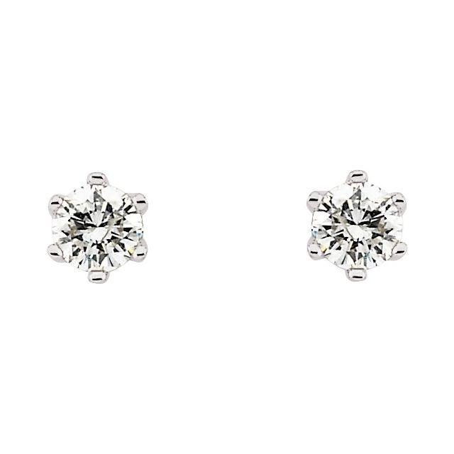 14K White 1/3 CTW Natural Diamond 6-Prong Stud Earrings