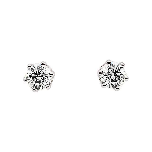 14K White 1/5 CTW Natural Diamond 6-Prong Stud Earrings