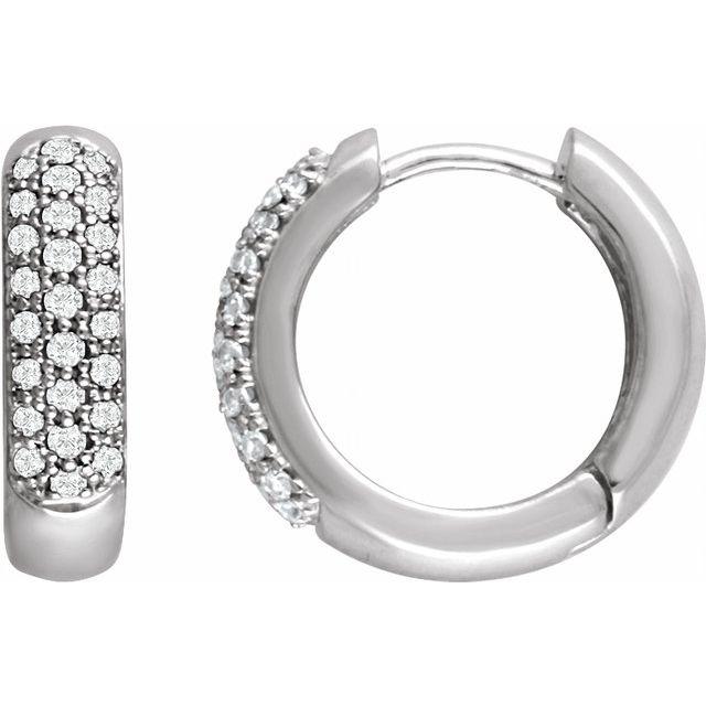 14K White 1/3 CTW Diamond Pavé Hoop Earrings