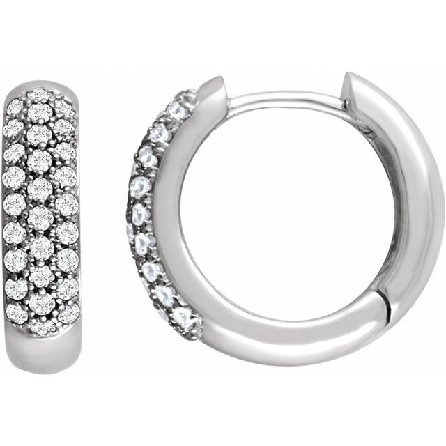 14K White 1/2 CTW Diamond Pavé Hoop Earrings
