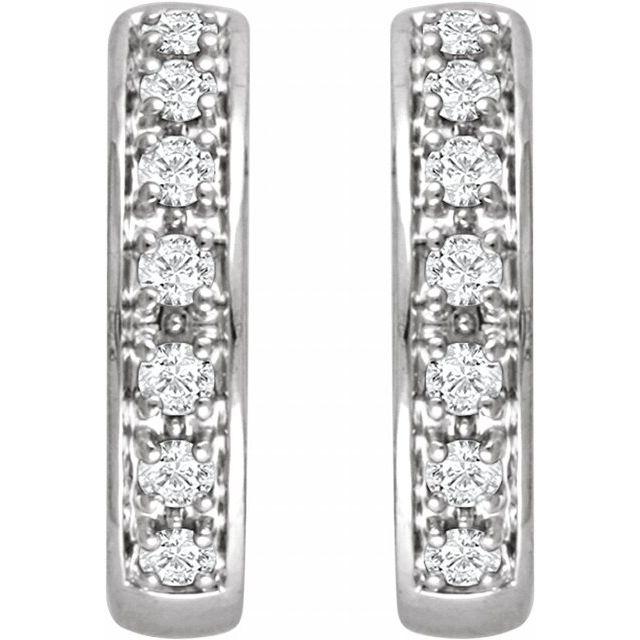 14K White 1/3 CTW Diamond Huggie Earrings