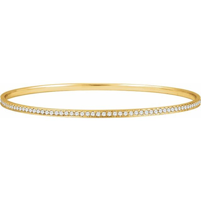 14K Yellow 1 1/2 CTW Diamond Bangle Bracelet 7""