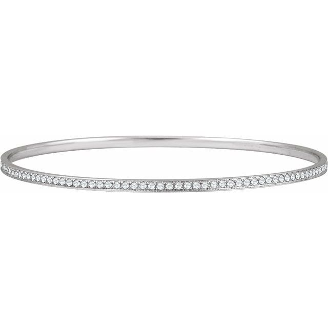14K White 1 1/2 CTW Diamond Bangle Bracelet 7""