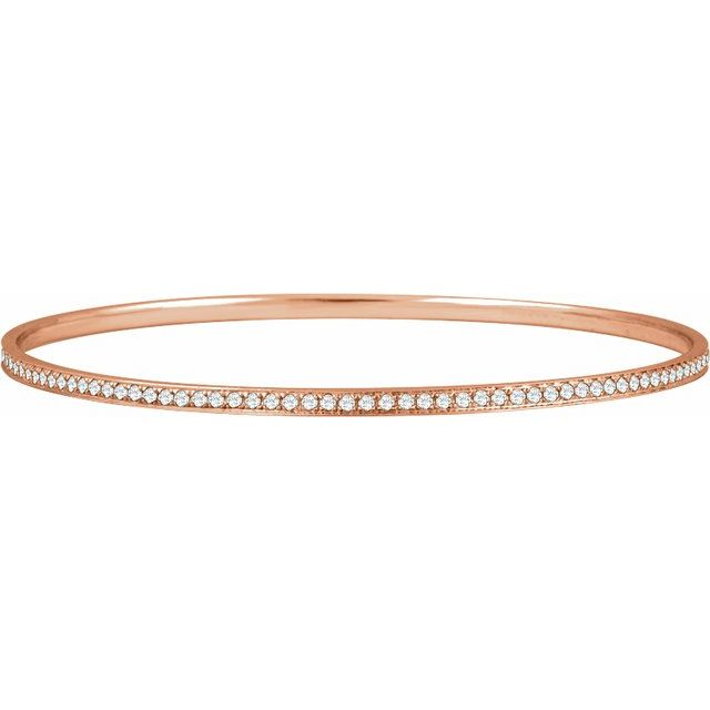14K Rose 1 1/2 CTW Diamond Bangle Bracelet 7""