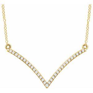 "14K Yellow 1/6 CTW Diamond ""V"" 18"" Necklace"