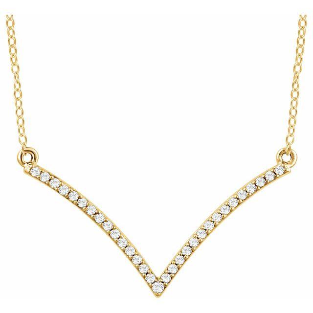 14K Yellow 1/6 CTW Natural Diamond V 18