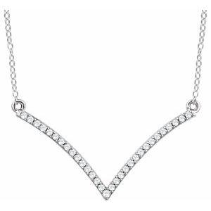 "14K White 1/6 CTW Natural Diamond V 18"" Necklace"