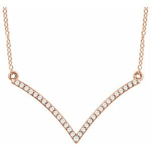 "14K Rose 1/6 CTW Diamond ""V"" 18"" Necklace"