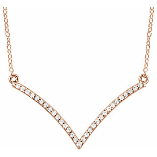 14K Rose 1/6 CTW Natural Diamond V 18