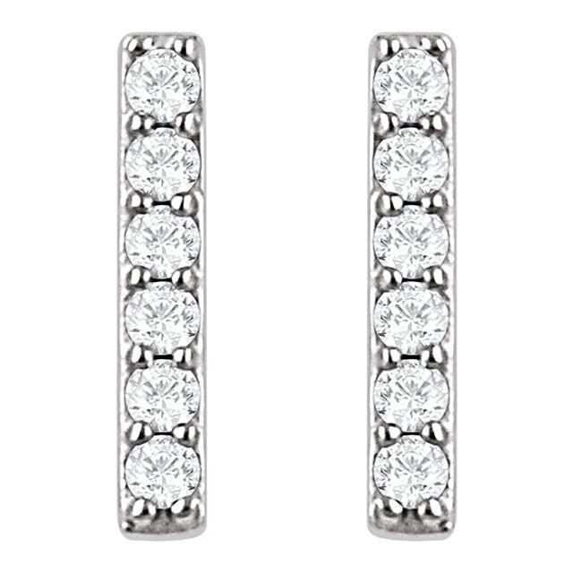14K White 1/10 CTW Lab-Grown Diamond Bar Earrings