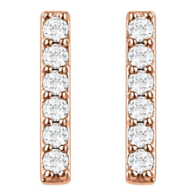 14K Rose 1/10 CTW Natural Diamond Bar Earrings