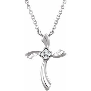 "Sterling Silver .03 CTW Diamond Cross 18"" Necklace"