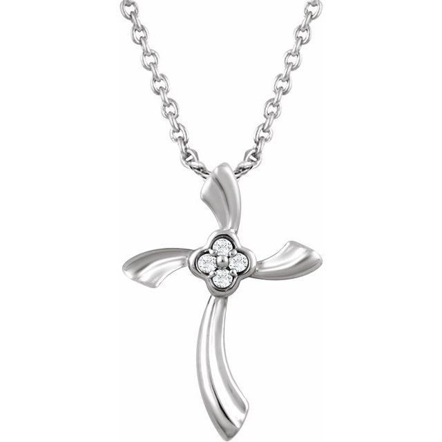 Sterling Silver .03 CTW Diamond Cross 18