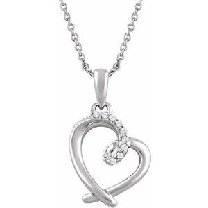 "Sterling Silver .05 CTW Diamond Heart 16-18"" Necklace"