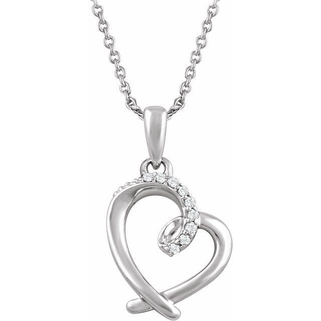 Sterling Silver .05 CTW Diamond Heart 16-18
