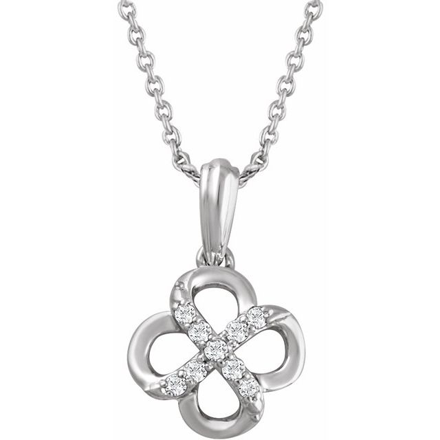 Sterling Silver .08 CTW Natural Diamond 18