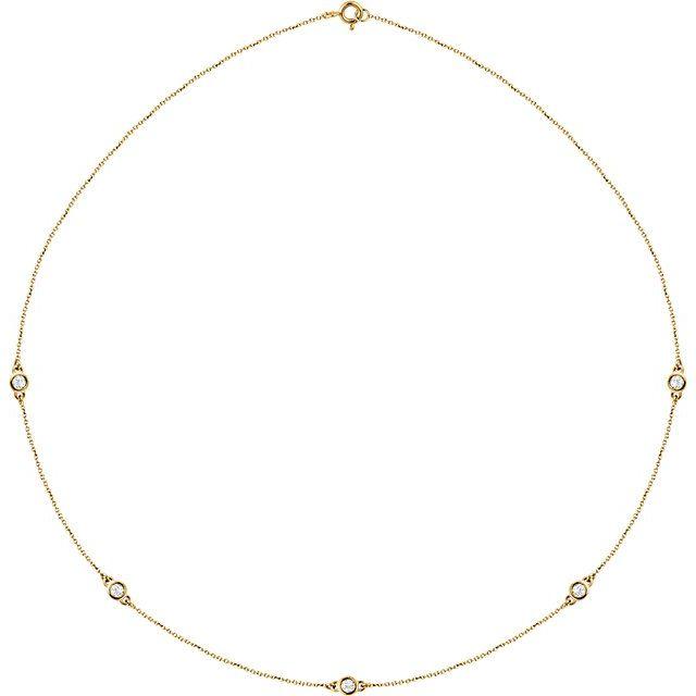 "14K Yellow 1/2 CTW Diamond 5-Station 18"" Necklace"