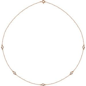 "14K Rose 1/2 CTW Lab-Grown Diamond 5-Station 18"" Necklace"