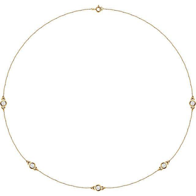 "14K Yellow 3/4 CTW Lab-Grown Diamond 5-Station 18"" Necklace"