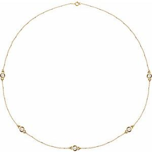 "14K Yellow 1 CTW Lab-Grown Diamond 5-Station 18"" Necklace"