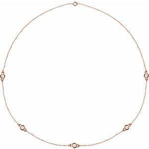 """14K Rose 1 CTW Diamond 5-Station 18"""" Necklace"""