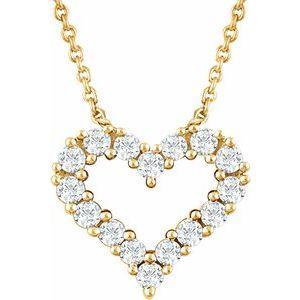 "14K Yellow 1/4 CTW Diamond Heart 18"" Necklace"