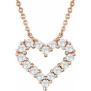 "14K Rose 1/4 CTW Diamond Heart 18"" Necklace"