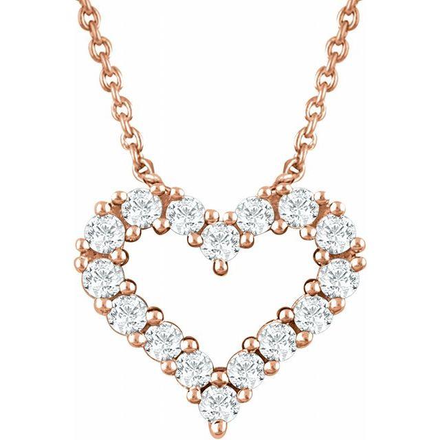 14K Rose 1/4 CTW Natural Diamond Heart 18