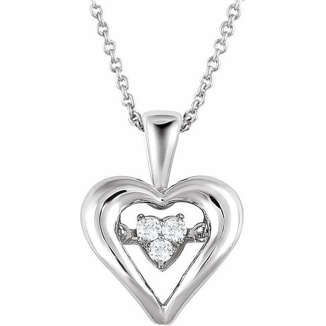 Sterling Silver 1/10 CTW Diamond Heart Mystara® 18