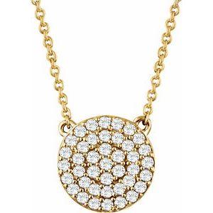 "14K Yellow 1/3 CTW Diamond Cluster 16-18"" Necklace"