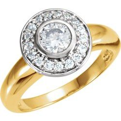 Bezel Engagement Ring Mounting with Heart Design