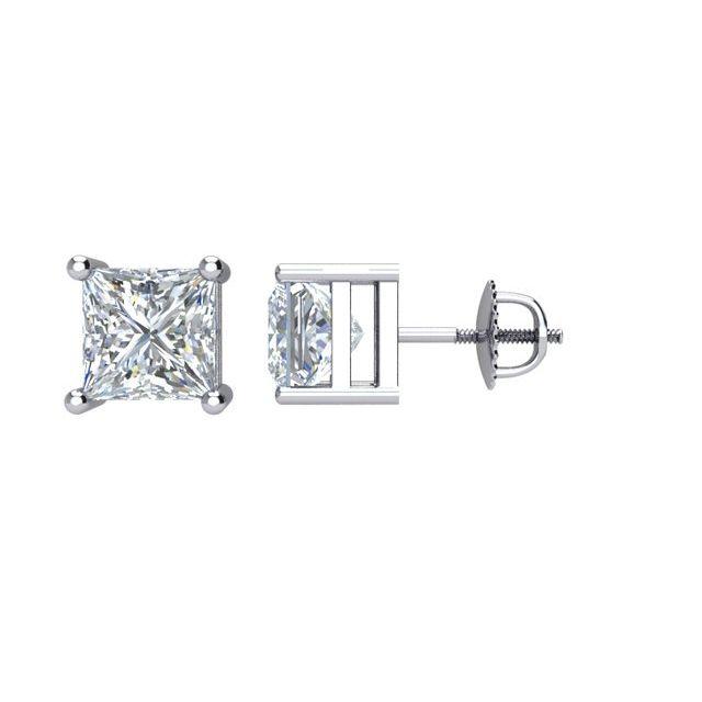 14K White 1/4 CTW Diamond Threaded Post Stud Earrings