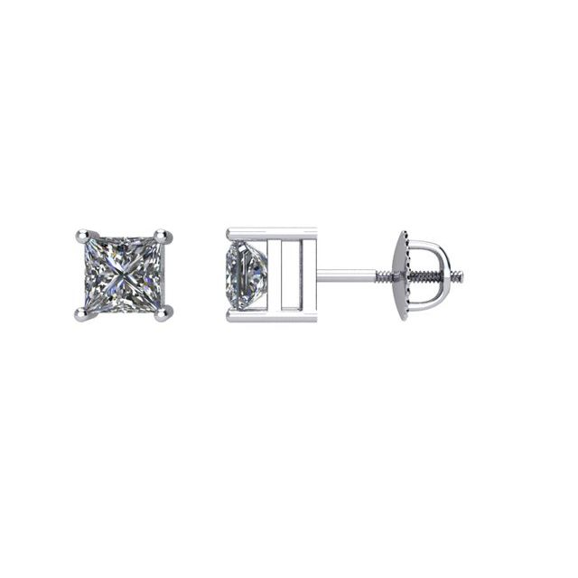 14K White 1/2 CTW Diamond Threaded Post Stud Earrings