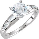 Baguette Accented Engagement Ring or Band