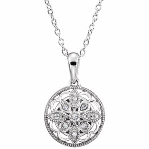 "Sterling Silver .05 CTW Diamond 18"" Necklace"
