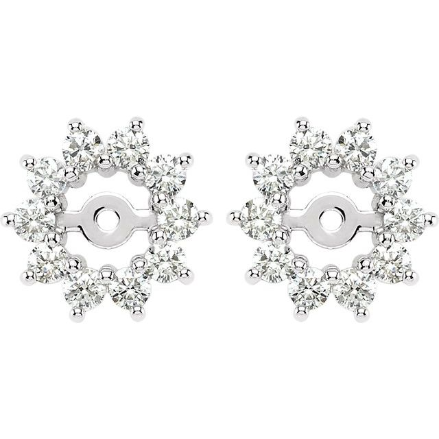 14K White 5/8 CTW Diamond Earring Jackets with 3.7mm ID