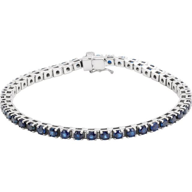 "14K White Blue Sapphire Line 7"" Bracelet"