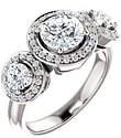 14K White 6.5 mm Round 5/8 CTW Diamond Semi-Set Engagement Ring