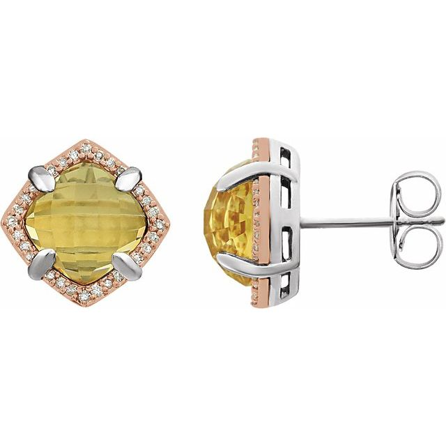 14K Rose Gold-Plated Sterling Silver Citrine & 1/6 CTW Diamond Earrings