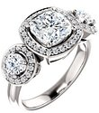 14K White 7x7 mm Cushion 3/4 CTW Diamond Semi-Set Engagement Ring