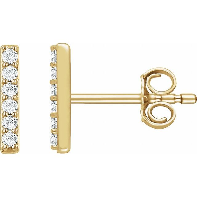 14K Yellow 1/10 CTW Diamond Bar Earrings