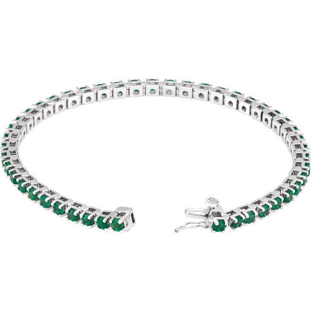 14K White Emerald Line 7