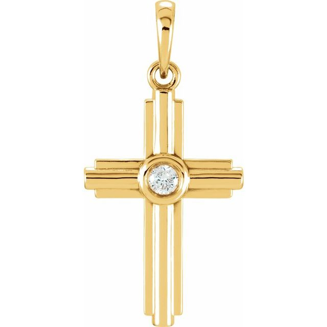 14K Yellow .06 CTW Diamond Cross Pendant