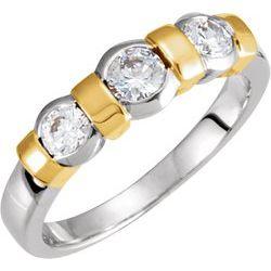 3-Stone Anniversary Ring Mounting for Round Gemstones