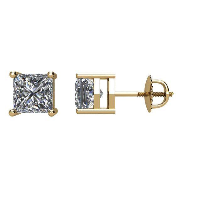 14K Yellow 1 CTW Natural Diamond Stud Earrings