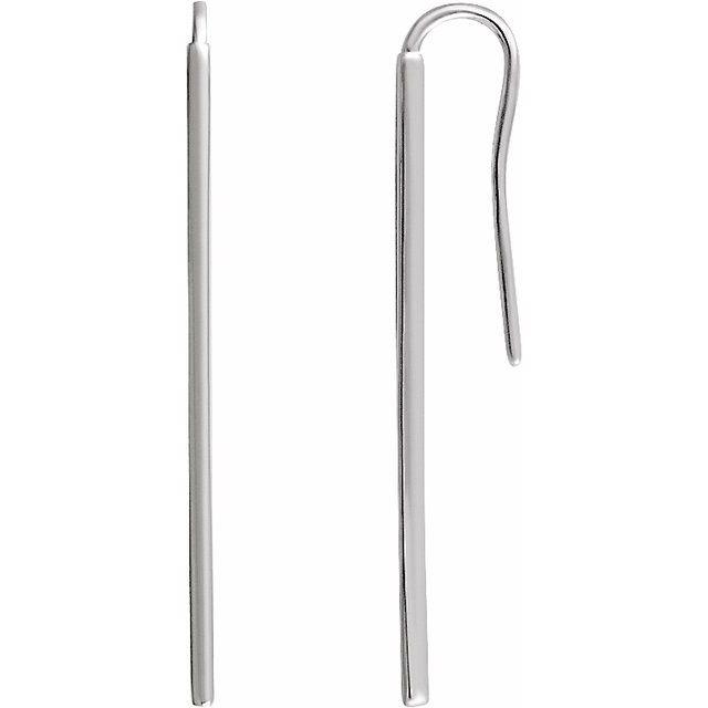 14K White Vertical Bar Earrings
